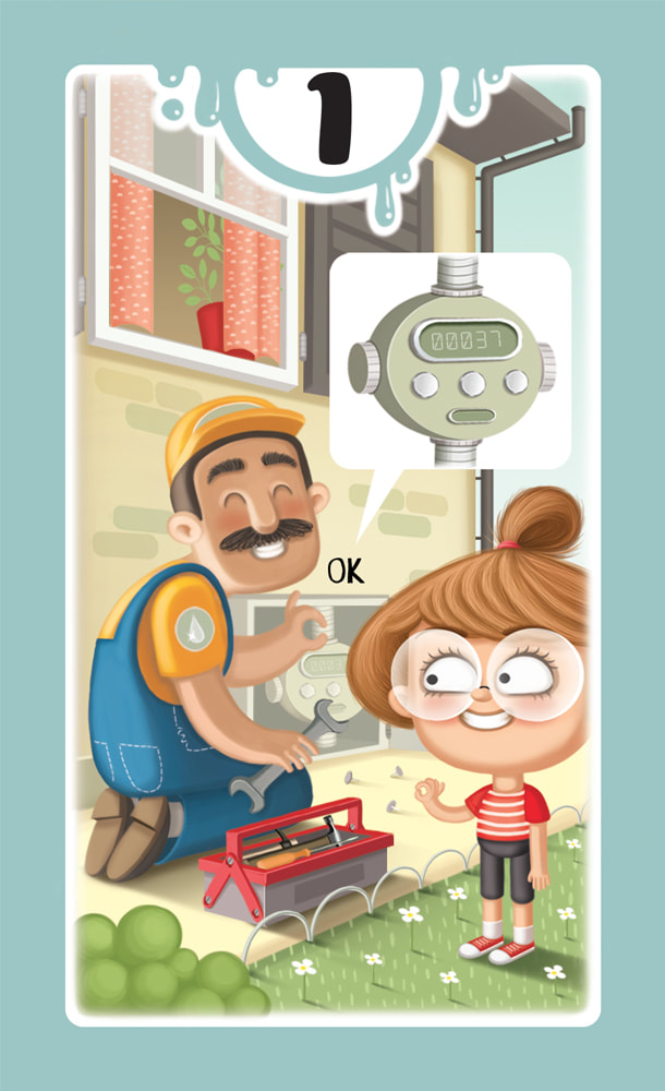 illustration for a card for the board game DROP! depicting a girl making the OK gesture to a water engineer who is checking a water meter