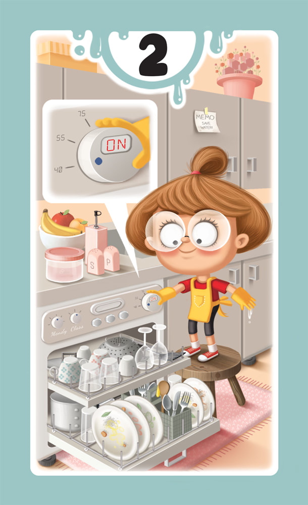 illustration of a card for the board game DROP! with a light blue frame and a girl turning on a full dishwasher in a pink kitchen