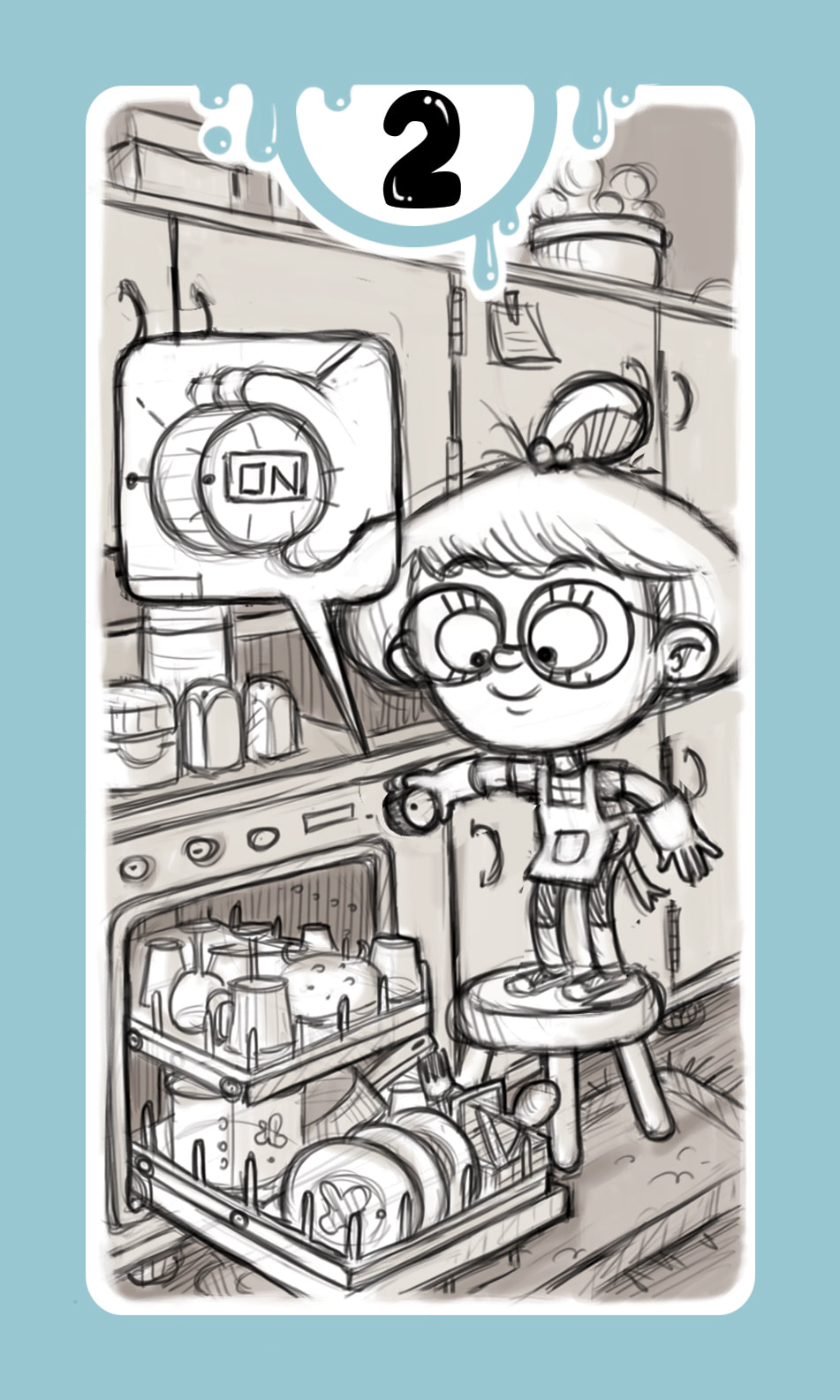 Black and white sketch of a card for the board game DROP! with a light blue frame and a girl turning on a full dishwasher in a kitchen