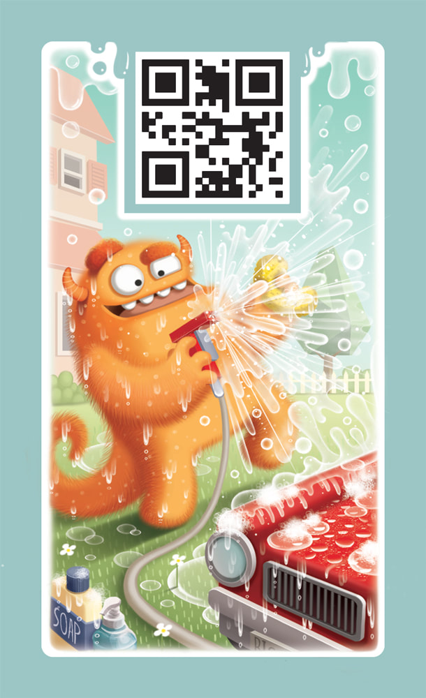 illustration for the card game DROP! depicting a hairy and yellow monster washing a red card with a garden hose nozzle and spreading water everywhere