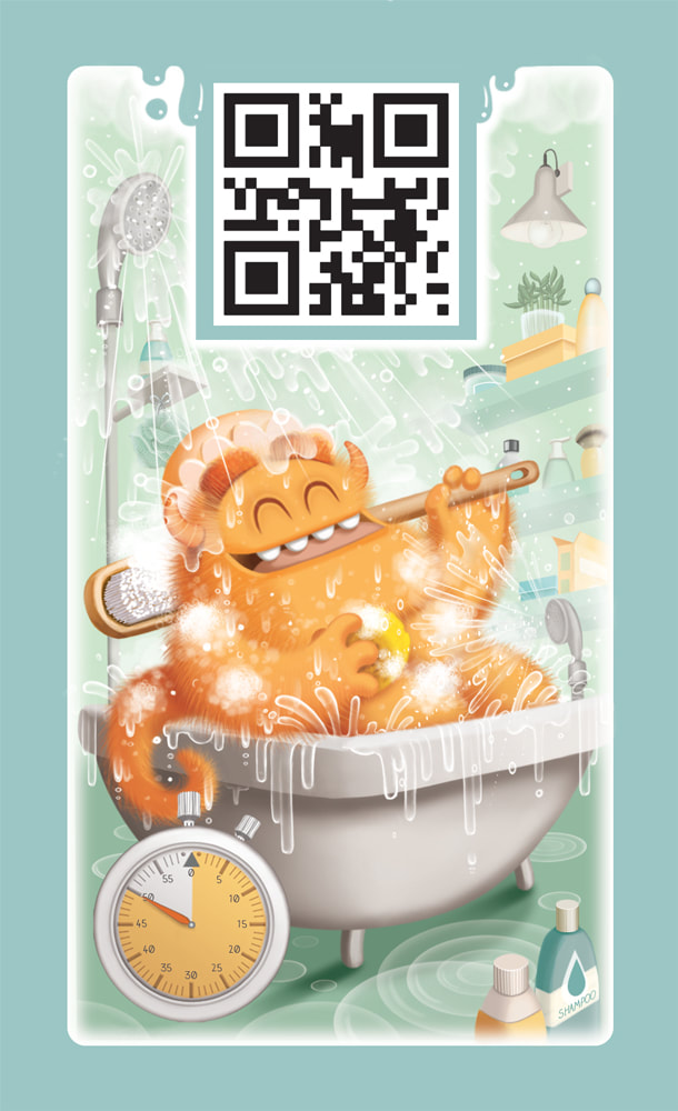 illustration for the card game DROP! depicting a monster with a shower cup having a long time bath and using more water than necessary in a green bathroom