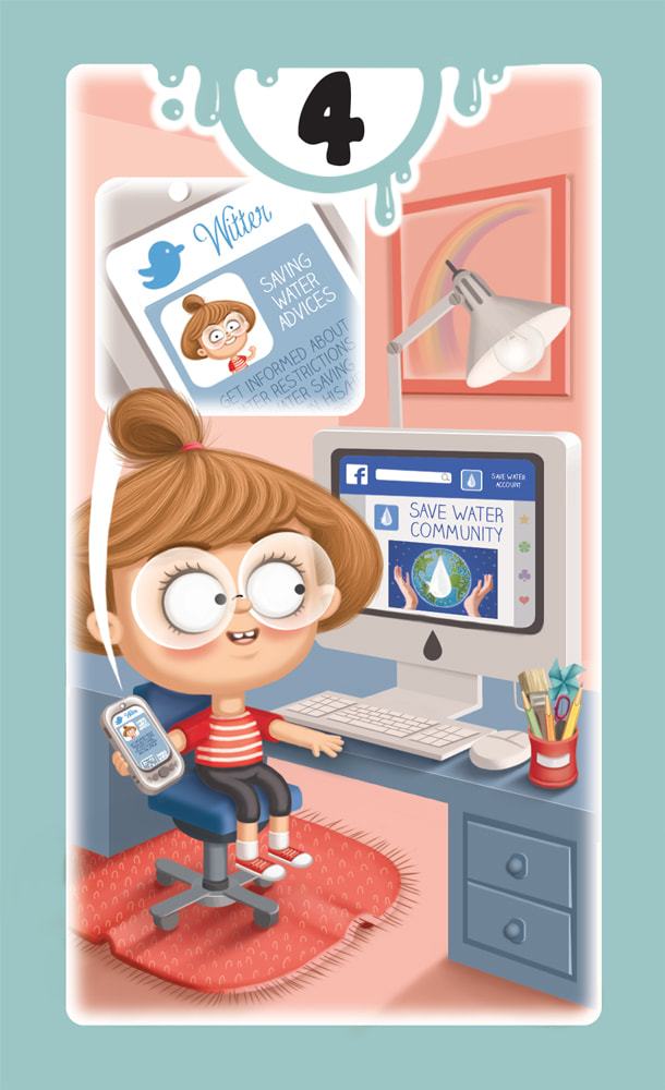 illustration of a card for the game DROP! with a light blue frame and a girl tweeting tips on how to save water through her personal computer in a blue and red studio