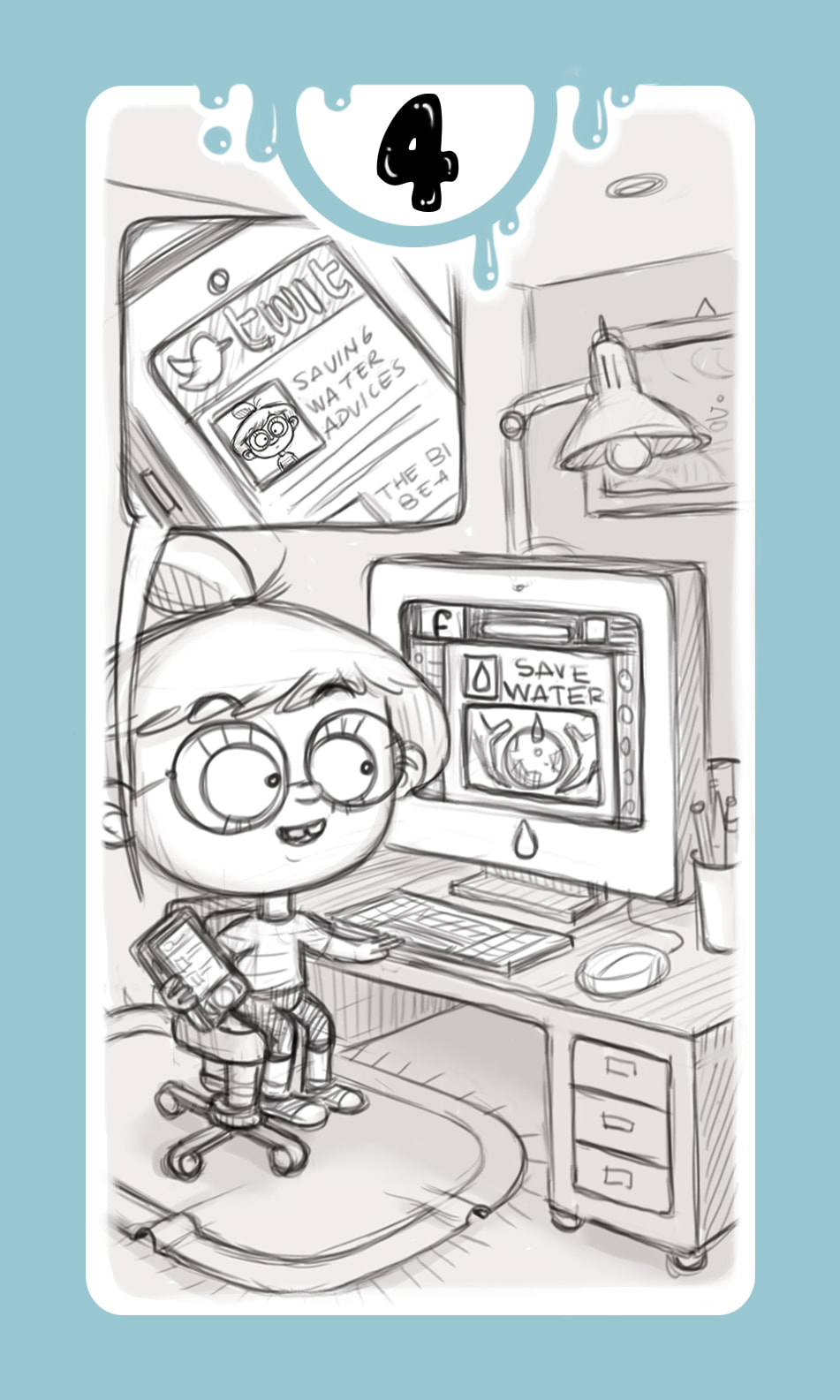 black and white pencil sketch of a card for the game DROP! with a light blue frame and a girl tweeting tips on how to save water through her personal computer in a studio