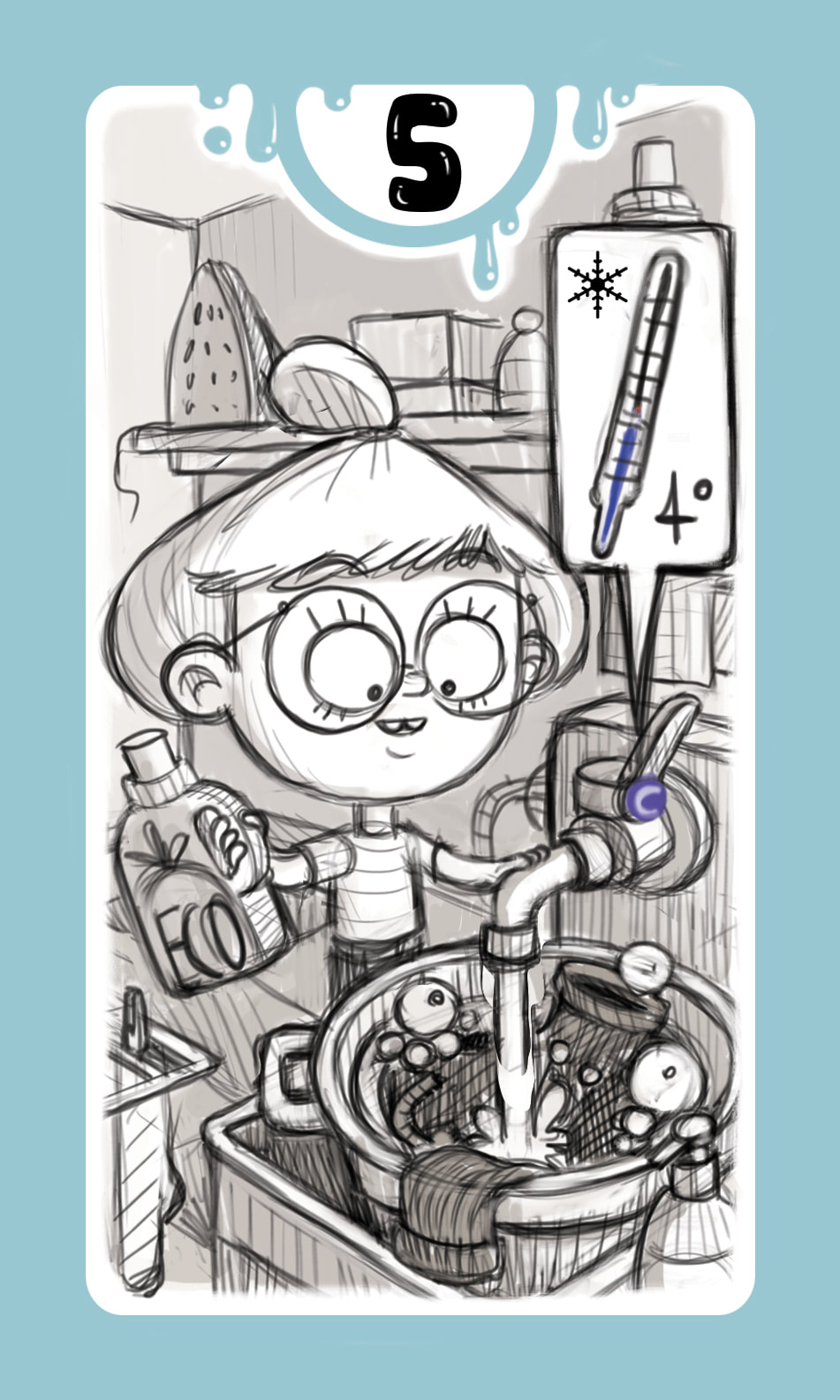 Black and white pencil sketch of a card for the game DROP! with a light blue frame and a girl washing her clothes in a red basin with cold water and ecological soap in laundrette