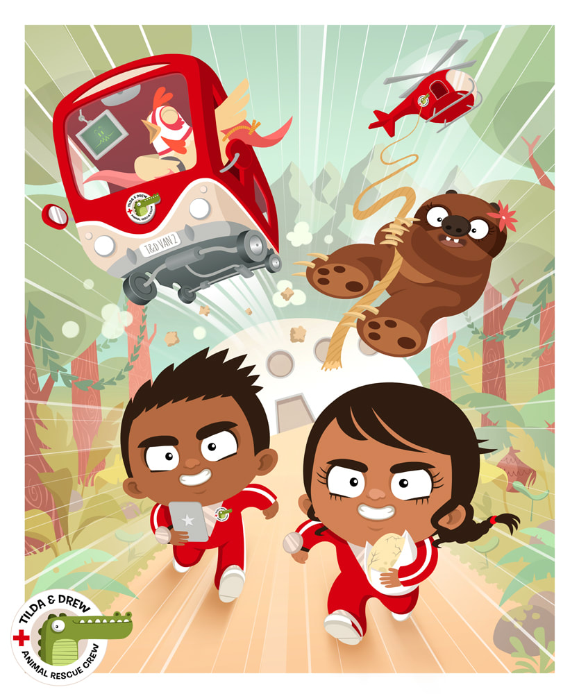 illustration of a black boy and a black girl in a green forest wearing a red suit and running towards the camera while at the back a chicken is riding a red bus and a sloth is landing from an helicopter