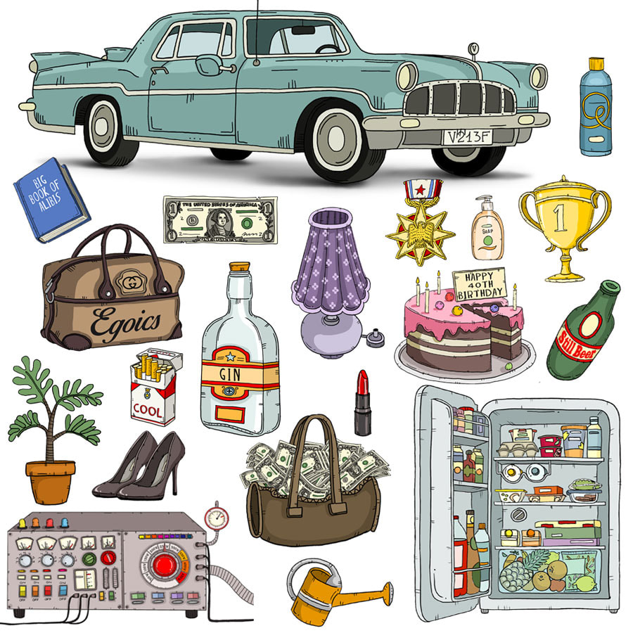 illustration of various objects such as : a blue car, a brown bag, a pink cake, a yellow cup, a bottle of gin etc. made with a black outline in a comic cartoon  style made for an animated movie