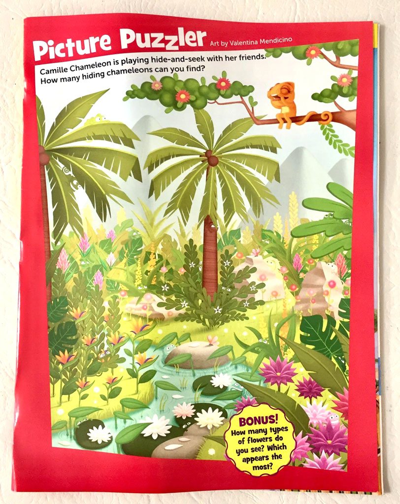 picture puzzler photo from internal pages of highlights magazines illustrated by Valentina Mendicino depicting a busy  scene of a jungle with palms trees flowers and a river where little chameleons are hiding