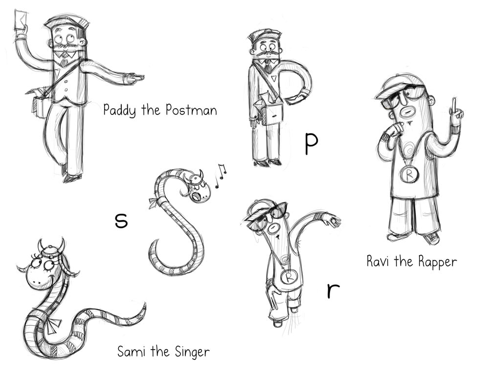 alphabet phonics sketch