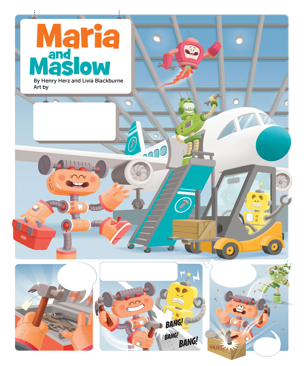 comic page with an orange, a blue, a yellow, a red, and a green robot in a airplane jet factory