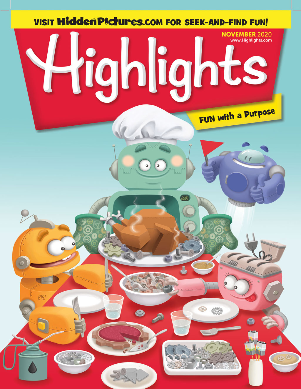 illustrated cover for highlights magazine with a blue robot serving to robotic kids a mechanic turkey for the fourth of July thanksgiving dinner with a flying purple robot at the back