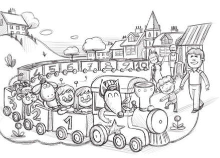 sketch of train with animals going throw a town