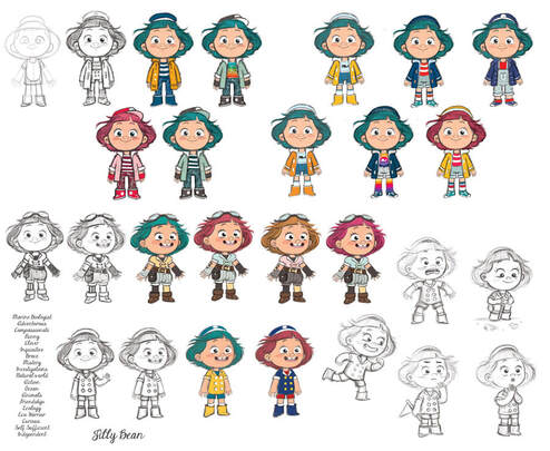 character design sheet for a jelly bean's submarine series tv depicting a girl with green hairs with different clothing