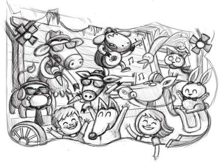 Sketch of a fox, a dog, a cow, a sheep, a cat, a horse and a rabbit having a concert in the barn and wearing sunglasses