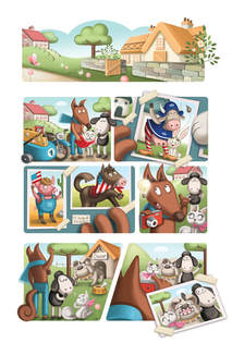 comic page of a dog, a fox, a cat and a sheep taking pictures with a camera