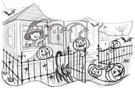 Sketch of a witch and a black cat in a haunted house at halloween with pumpkins, bats and spiders