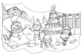 sketch of children doing a snowman in the snow with a Christmas tree