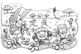 Sketch of a Easter rabbit walking among flowers with kids