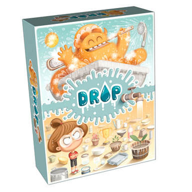 illustrated front cover for the board game DROP! packaging depicting on the top a yellow and hairy monster having a bath and misusing water and on the bottom a girl trying to save the water from the monster's misuse in different containers