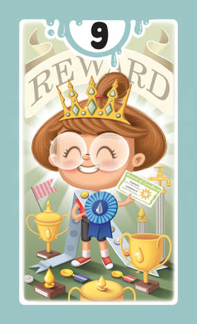 illustrated card with a smiley girl with glasses holding an award certificate with a blue cockade among winning cups
