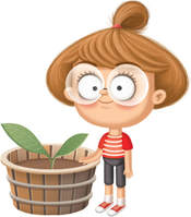 illustration og a girl with brown hairs and glasses close to a green potted plant in a white background