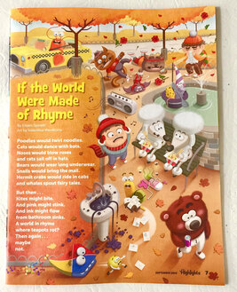 photo of an internal illustrated page of highlights magazine by Valentina Mendicino depicting a busy scene of central park in New York with crazy characters such as a walking bear wearing a pyjama, a couple of poodles eating noodles, cats dancing breakdance and a lobster taxi driver