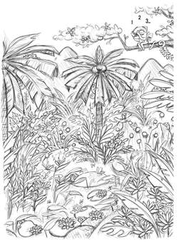 sketch of a jungle environment with palms trees flowers and a river where little chameleons are hiding