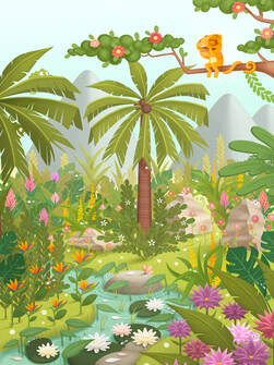 busy illustration of a jungle with palms trees flowers and a river where little chameleons are hiding