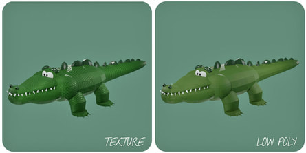 3d model illustration of a funny green crocodile with two different textures