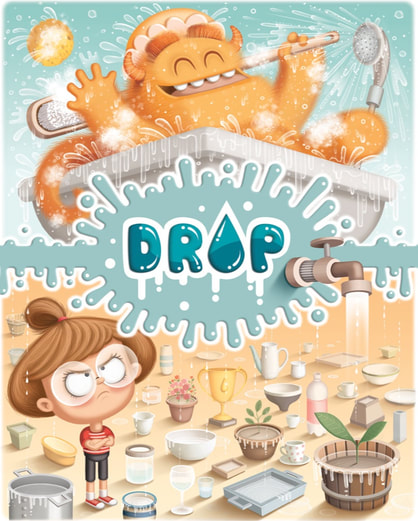 illustrated front cover for the board game DROP! box depicting a yellow and hairy monster having a bath and misusing water with an upset girl with glasses trying to save the water in containers originated from the monster's misuse of water