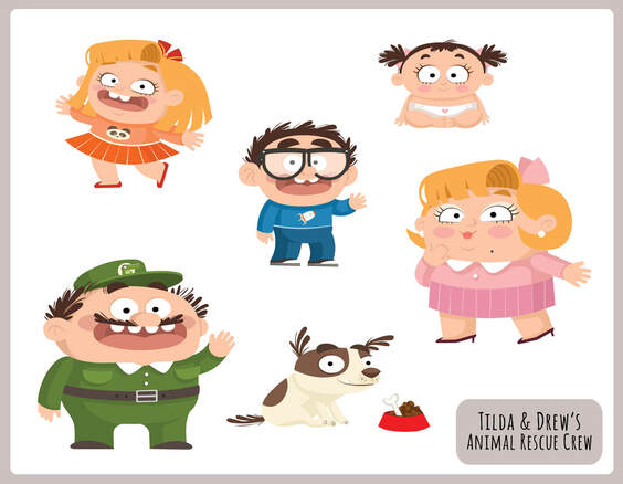 vectorial illustration with flat colours and simple graphic of a family with a dad wearing green clothes, a blonde wife wearing pink clothes, a blonde and smiling girl with an orange skirt, a boy with thick glasses waving hello in blue clothes and a baby girl wearing a nappy