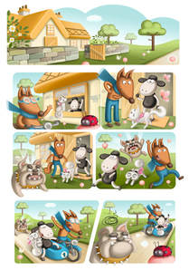 comic page with a sheep, a dog and a cat in a country cottage