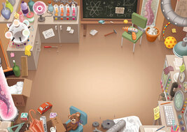 illustrated background of a lab with many kid made inventions and toys