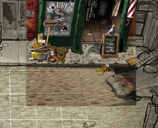 realistic colouring of a wrecked road with an abandoned barber and debris on the floor