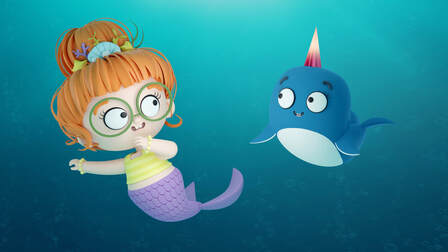 3D illustration of a mermaid with red hairs and a blue narwhal
