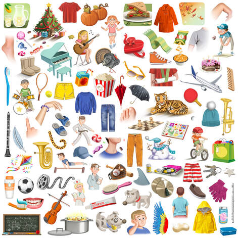 illustration and stickers collection of objects