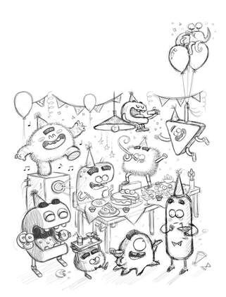 black and white pencil sketch of funny monsters with a simple 3d geometry character design having a birthday party among decorations, balloons and party food