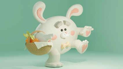 3d model of a white rabbit walking and holding a basket with carrots in a turquoise background