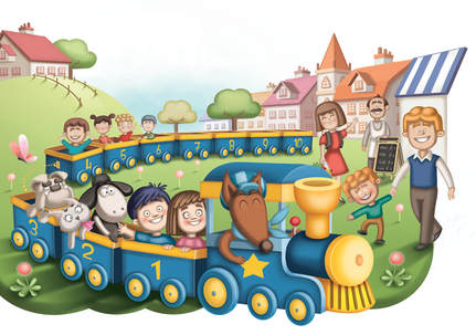 Illustration of a yellow and blue train with animals going throw a town