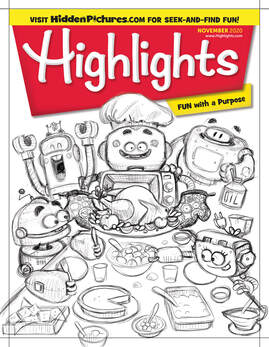 sketch for the cover of highlights magazine depicting a thanksgiving dinner with robots around the table and a mechanic turkey