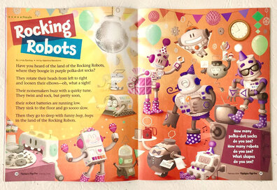 photo of an internal page of highlights magazine for children illustrated by Valentina Mendicino depicting robots dancing, eating and having a party in a orange room with balloons, gears and a disco ball