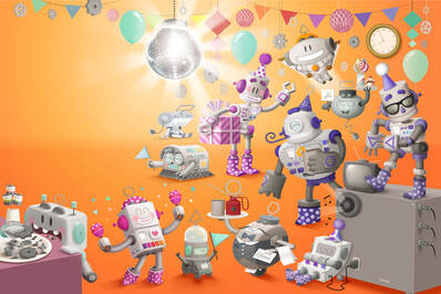 illustration of robots dancing, eating and having a party in a orange room with balloons, gears and a disco ball