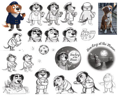character design sheet, turnaround and illustration of a nova scottie dog dressed as a sailor or captain smoking a pipe and  howling at the moon