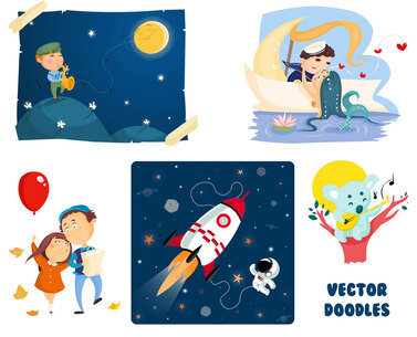 patchwork of vectorial illustrations depicting different scenes: a mermaid kissing a sailor, a man playing a saxophone in the night, a girl and a man walking with a red balloon, a koala playing a guitar on a brunch and a rocket with an astronaut in space
