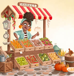 illustration of a black woman behind a market vegetable stand holding tickets with a perplexed expression in a yellow background among tomatoes, cabbages, potatoes, pumpkins, corn, beetroots, carrots beans and radish