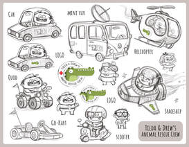 sketch of different vehicles such as a van, a jet, a motor bike, a go kart, and a car