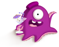 illustration of a purple alien with tentacles and one eye holding a cocktail
