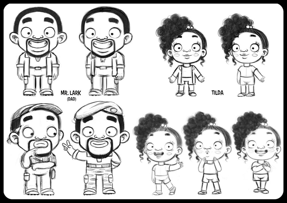 character design sheet in black and white with turnaround of a black funny man looking like will smith and a black girl