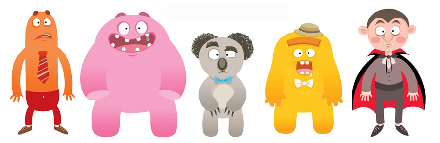vectorial illustrations of various characters with gradients depicting an orange monster with a tie, a pink smiling monster, a grey koala with a blue bow, a yellow monster with a grey hat and dracula