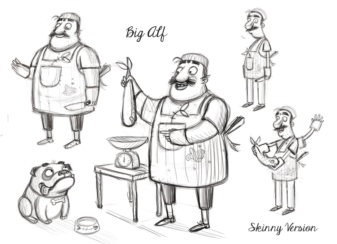 sketch of a fat man selling fish with a dog a a version of the same man but thin