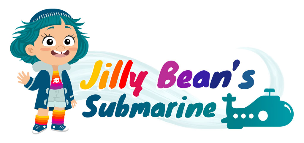 vectorial logo for the jelly bean's submarine animated tv series with a girl with green hairs waving hello and rainbow colours around